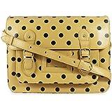 Ladies Womens Polka Dot Bag Spot Spotty Satchel Handbag Apricot Black