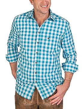 H1406 - Trachtenhemd mit Langem Arm - Slim/Regular - Apfelgrün, Türkis, Violett, Größe 49/50 (4XL)