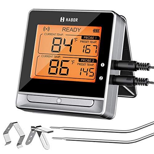 Habor Bluetooth Grillthermometer, BBQ Ofenthermometer Digital mit Doppelsonde, Fleischthermomete, 60M, Timer-Alarm, Großes Display, 11 Kostliche Einstellungen fur Kuche Grill, Steak, Kunststoff, Grey