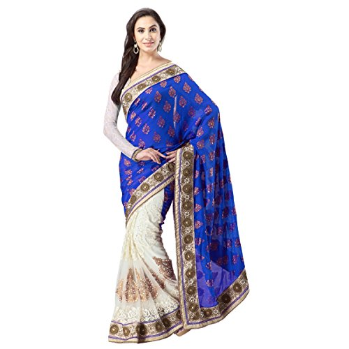 Aagaman Fashions Net & Banarasi Silk & Jacquard Sarees (TSSF9003A_Blue)