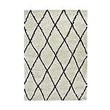 Asma Tapis de Salon Shaggy - Style berbere - 150 x 220 cm - Beige Creme - Poils Longs