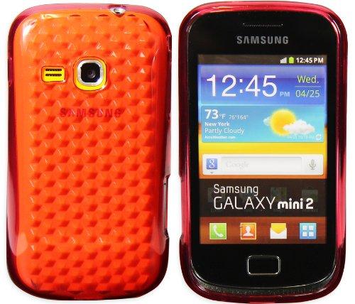 Luxburg® Diamond Design funda protectora para Samsung Galaxy Mini 2 GT-S6500 en color rojo rubí, Estuche carcasa de TPU Silikon