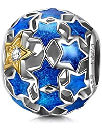 NinaQueen - Sternenklare Nacht -Damen Charms Anhänger 925 Sterling Silber Nickelfrei Beads