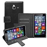 Membrane - Nero Portafoglio Custodia per Microsoft Lumia 640XL (Lumia 640 XL/Dual) - Wallet Flip Case Cover + 2 Pellicola Protettiva