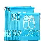 Maomaoyu Lot de 10 Sac à Chaussures de Voyage de Rangement Antipoussière,Respirant,Imperméable avec Cordon et Design de Fenêtre Transparent Idéal pour Le Voyage Accueil Bleu Clair (5 * L + 5 * M)