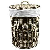 Wäschebox Wäschetruhe Wäschekorb Wäschesortierer Wäschekiste Wäschesammler Wäschetonne Truhe Kiste Aufbewahrungsbox 50x70cm mit Deckel in Rattan