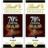 Lindt Excellence 70% Dark Cocoa Chocolate Bar, 100G (Pack Of 2)