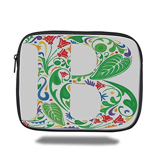 Natures Harvest (Tablet Bag for Ipad air 2/3/4/mini 9.7 inch,Letter B,Capital with Spring Herbs Flowers Petals Leaves Nature Harvest Swirls Vivid Image,Multicolor,3D Print)
