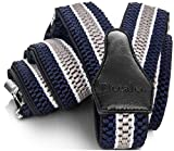 Decalen Hosenträger für Herren breit extra starken 4 cm mit 3er Clips Y Form Lang für Männer und Damen Eine Größe Passt Alle Verschiedenen Farben (Marineblau Weiß Silber)