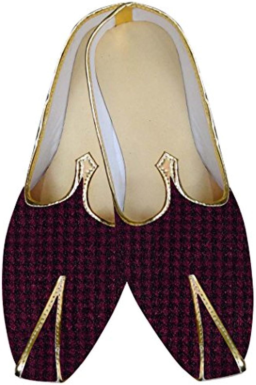 INMONARCH Hombres de Magenta y Negro Zapatos de Boda MJ014119