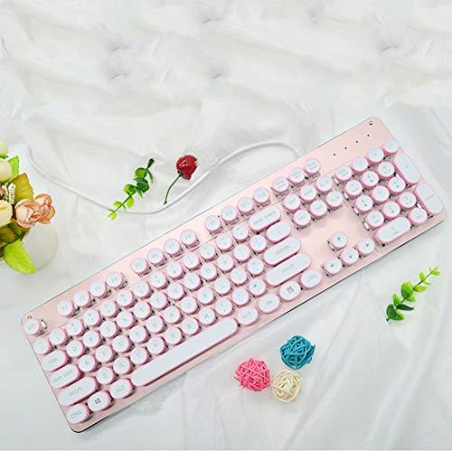 DEVILNAIL Dampf Mechanische Tastatur, RGB-Hintergrundbeleuchtung, Rote Achse Runde Taste, Kabelanschluss, Retro-Praxis - Dampf-stecker