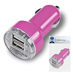 Pink Dual 2.1 / 1 Amp [ 3.1A ] Compact Fast Charge 2 x USB Ports Car Charger Adapter For LG Optimus L4 II Dual E445