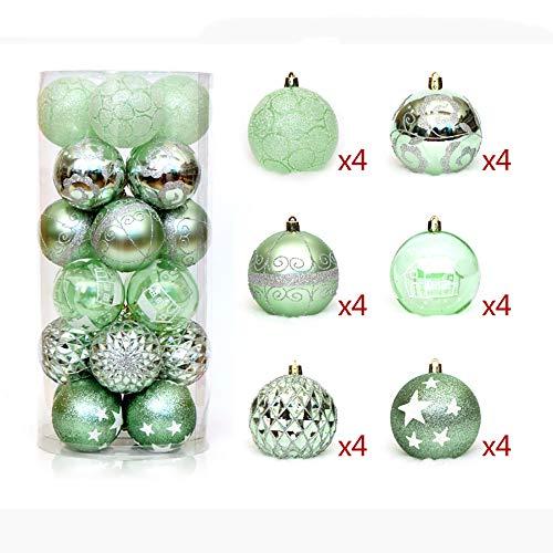 Smilinggirl decorazioni natalizie, set di palle dipinte 6cm24, infrangibile sfera di decorazione dell'albero di natale,green