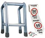 Unbekannt 2 TLG. Set: __ Gehhilfe - ( Aufblasbar ) + Toilettenpapier Rolle -  50. Geburtstag / fünfzig und Sexy - Happy Birthday  - lustiger Partyartikel - für  alte..