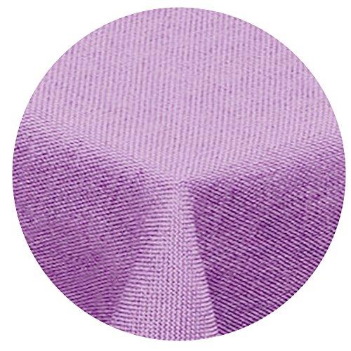 Preisvergleich Produktbild Leinen Optik Tischdecke Rund 160 cm Flieder Hell Lila · Eckig Farbe wählbar mit Lotus Effekt - Wasserabweisend