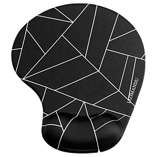 Handgelenkauflage Mouse pad ,Lizimandu rutschfeste Gummi-Unterseite gleichmäßige Maussteuerung ergonomisches Komfort Mauspad mit Handauflage(Schwarz Fragment/Black Fragment)