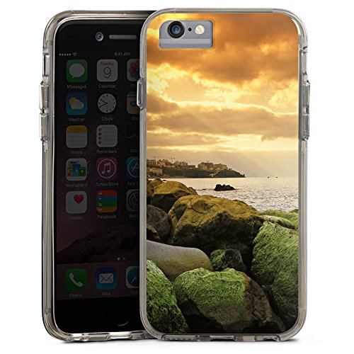 Apple iPhone 7 Bumper Hülle Bumper Case Glitzer Hülle Kueste Landschaft Fels Bumper Case transparent grau