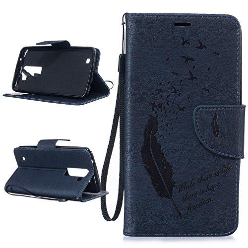 Per LG K8 (5 Pollici) Custodia ZeWoo® Custodie in PU Pelle Case Cover - BF063 / Piuma blu scura