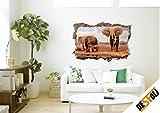 Safari Elefanten Afrika Natur 3D-Optik Wandtattoo 70 x 105 cm Wandbild Sticker Aufkleber D058