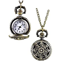 Kolylong Fashion Vintage Retro Bronze Quartz Pocket Watch Pendant Chain Necklace