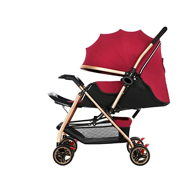 Luxury Baby Stroller Light High-Landscape Pram Portable Folding Umbrella Baby Carriage Baby Stroller on The Airplane (Color : Red) AILI-pushchairs Ten wheel front wheel four-wheel suspension, built-in bearing steering flexible four-wheel shock absorber to reduce bumps. It can be used to sit and recline freely to adjust the seasons. The measured width is wide and comfortable, creating a comfortable sleeping environment for the baby. 1