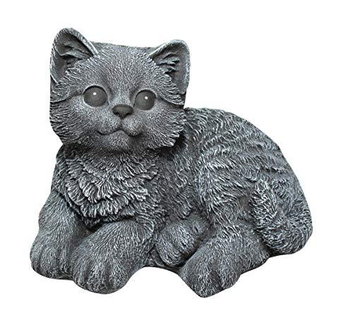 Steinfigur Katze sitzend - Schiefergrau, Garten, Deko, Stein, Figur, Frostsicher
