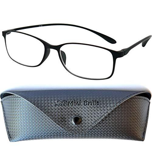 Flexible Lesebrille mit Ovalen Gläsern | Leichten TR 90 Rahmen (Schwarz) | GRATIS Etui und Brillenputztuch | Lesehilfe für Damen und Herren | +2.0 Dioptrien