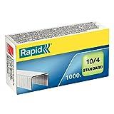 Rapid Agrafes Standard N°10, Longueur 4 mm, 1000 Agrafes, Agrafe jusqu'à 10 feuilles, Fil flexible galvanisé, 24862900