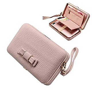 Leather Ladies Purse Wallets - Aeeque Women Phone Bags Case for Samsung S7 Edge S8 +,Huawei P20 Lite P Smart, Elegant Girl Bowknot Clutch [Hand Wrist] [License Credit Card Slots Coins Holder], Pink