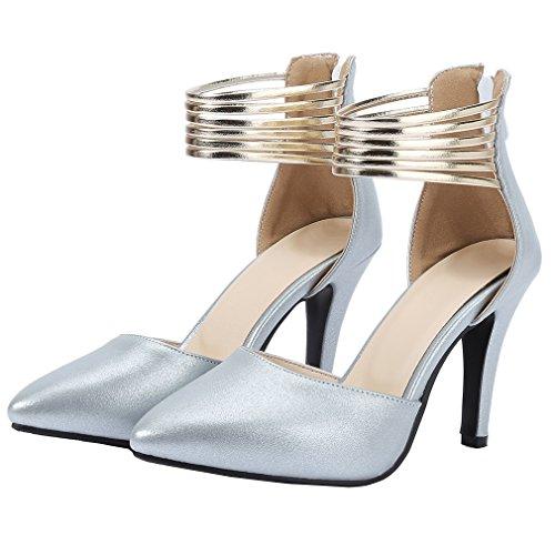 YE Damen Spitz Knöchelriemchen Stiletto High Heel Pumps mit Reißverschluss und 10cm Absatz Elegant Schuhe Grau
