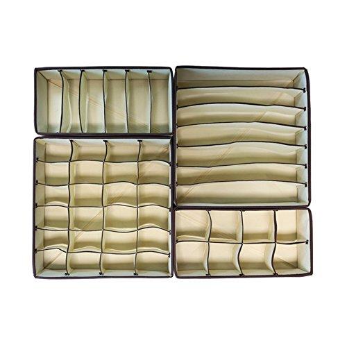 Rebecca Srl Set 4 Pz Divisorio Cassetti Portabiancheria con Scompartimenti Beige Tessuto Organizzazione Casa Cassettiera Armadio (Cod. RE4729)