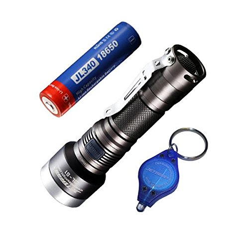 Combo: JetBeam WL-S1 LED Flashlight 700 Lumen w/3400mAh Battery w/ Exclusive Jetbeam Keychain Light Tail Cap Switch Combo