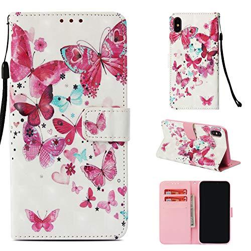 Uzer 3D-Schutzhülle für iPhone XS, stoßfest, mit Kartenfächern, Kartenfächern, Geldfach, langlebig, magnetisch, für iPhone XS Max 16,5 cm Many Butterflies