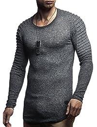 6ec74728 LEIF NELSON Herren Pullover Hoodie Biker Kapuzenpullover Sweatjacke  Gesteppter Langarm Longsleeve Sweatshirt Jacke.