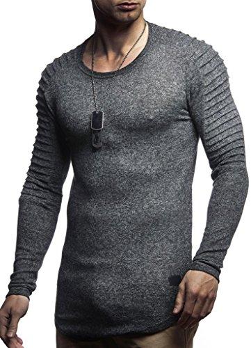 LEIF NELSON Herren Pullover Hoodie Biker Kapuzenpullover Sweatjacke Gesteppter Langarm Longsleeve Sweatshirt Jacke Basic Langarm Oversize Shirt LN8187; Größe S; Anthrazit  