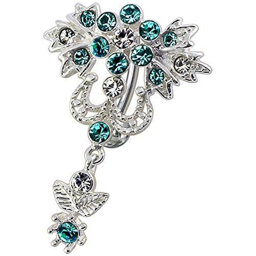 Blue Crystal Stein Trendy Blume Reverse Bar Design Sterling Silber Bauch Lichtleisten Piercing