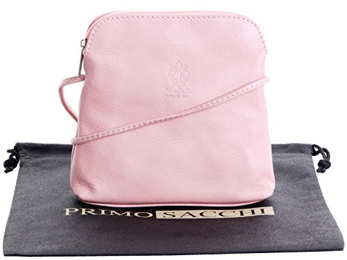 Vera pelle morbida italiana, attraversare il corpo piccolo / Micro o borsa a tracolla.Fornita nella pratica custodia protettiva marca. Rosa
