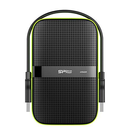 SP/Silicon Power 1TB Armor A60 Military-Grade Stoßfest / Wasserbeständig USB 3.0 2,5-Zoll Tragbare externe Festplatte für PC und Mac - Schwarz