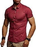 LEIF NELSON Herren Kurzarm Hemd Slim Fit Kurzarmhemd Freizeithemd für Anzug Business Freizeit Party T-Shirt LN3520; M, Bordeaux