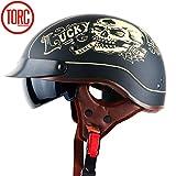 YXNB Brain-Cap · Halbschale Jet-Helm Motorrad-Helm, Matt Black Motorrad Half Helm mit Drop Visier...