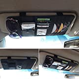 CareyNoce Auto Mehrzweck Sonnenblende Aufbewahrungstasche,CD-Halter,Brillenfassungen,Stifthalter,Karten-tasche , Handy-tasche -- (Schwarz)