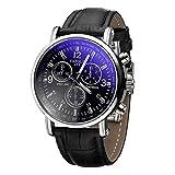 Hombre Blue Ray vidrio reloj de pulsera–yazole Hombre Reloj de pulsera Luxus Mode piel Blue...