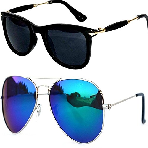 Sunglasses for boys stylish combo for mens womens girls at low price uv protected non polarized sun glasses goggle set (TYCM-Blk-Gldn-Stk+Blue-mercury-aviator|55|BM-aviator)  available at amazon for Rs.349