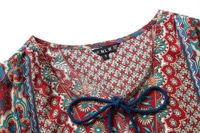 BOMOVO Damen Trägerkleid Cocktailkleid barockes Muster Sommerkleid Strandkleid Mehrfarbig