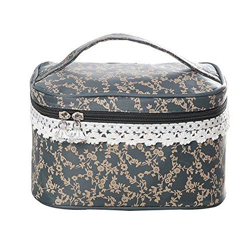 Qearly Nettoyable et Durable Trousse de Toilette/ Étui à Accessoires de Toilette/Zipper Sac/toiletry bag-Gris foncé