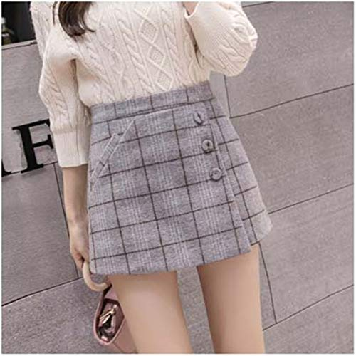 Autumn Women's Plaid Shorts Korean high Waist a line Wool Shorts Skirts Winter Slim Outwear Thicken warm Booty Short Pants No 2black Grey Plaid M - Button Fly Denim Bib
