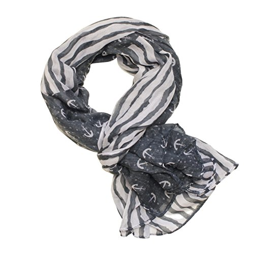 Grande écharpe rouge gris bleu foncé avec ancre motif gris
