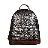 XRKZ Damenrucksack, Lederhandtasche, Handgebürsteter Vintage-Rucksack, Outdoor-Freizeittasche Mit Großer Kapazität 28 * 13 * 31CM Silber,Silver-OneSize(28 * 13 * 31cm)
