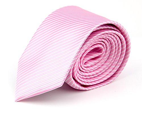 MASSI MORINO Krawatte Slim-Fit, handgenäht aus Mikrofaser in verschiedenen Farben - schmale Herrenkrawatte, Skinny & Silk Ties (Rosa feingestreift)