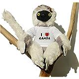 Sifaca (lémur) de peluche con Amo Gamba en la camiseta (nombre de pila/apellido/apodo)